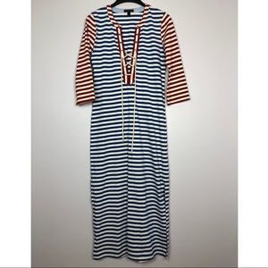 J Crew Striped Maxi Dress Cover Up Lace Up 3/4 Slv